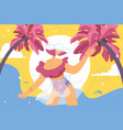 concept woman enjoying tropical summer resort vector image