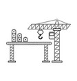 construction crane with transport band vector image vector image