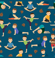cute boys yoga training pattern vector image