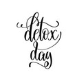 detox day - hand lettering inscription to healthy vector image vector image