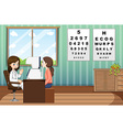 Eye doctor giving treatment to patient in clinic vector image vector image