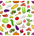 farm vegetables and greenery seamless pattern vector image vector image