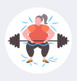 fat obese woman lifting barbell overweight girl vector image