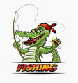 fishing crocodile vector image vector image