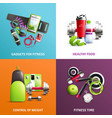 fitness gym concept icons set vector image vector image