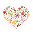 floral heart made of spices vector image vector image