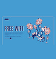 free wifi isometric landing page wireless internet vector image vector image