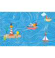 Funny sea banner with ships vector image vector image