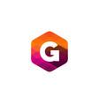 g hexagon pixel letter shadow logo icon design vector image vector image