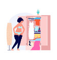girl getting dressed morning time young woman vector image vector image
