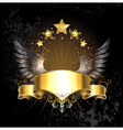gold ribbon with wings vector image vector image