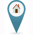 GPS marker with home icon vector image vector image