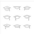 graduate cap hat set vector image vector image
