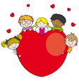 Group of children with a heart vector image