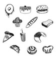 hand drawn bakery and fast food icon set vector image vector image