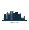honolulu skyline monochrome silhouette vector image