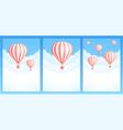 hot air balloon cloud travel invitation banner vector image