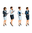 isometric icons womans emotions 3d businesswoman