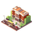 isometric university building vector image vector image