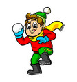 kid throwing snowball vector image vector image