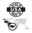 made in usa america stamp world map with zoom on vector image vector image