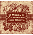 Merry Christmas Retro Card Brown vector image vector image