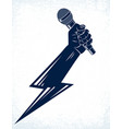 microphone in hand in a shape lightning rap vector image
