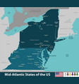 mid atlantic states of the united states vector image vector image