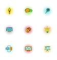 Optimization icons set pop-art style vector image vector image