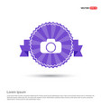 photo camera icon - purple ribbon banner vector image