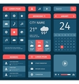 Red and blue set of mobile interface elements vector image vector image
