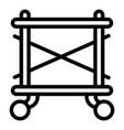 scaffolding on wheel icon outline style vector image vector image