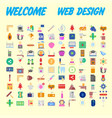 set of 100 universal modern thin line icons for vector image vector image
