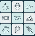 set of 9 restaurant icons includes cutlery check vector image vector image