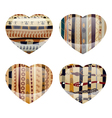 Set of glass hearts with ethnic texture inside vector image vector image