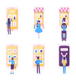 set people stands shopping online via huge vector image vector image