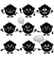 smilies round set black vector image