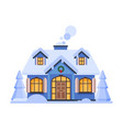 snowy suburban house rural winter cottage vector image vector image