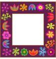 violet flowers frame vector image