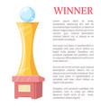 winner golden award statue vector image vector image
