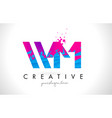 wm w m letter logo with shattered broken blue vector image vector image