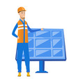 young caucasian worker of solar power plant vector image vector image
