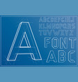wireframe alphabet font vector image