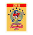 american football cartoon vintage recruitment vector image