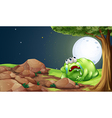 A tired monster resting under the tree in the vector image vector image