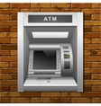 atm bank cash machine on a brick wall background vector image vector image