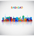 baghdad skyline silhouette in colorful geometric vector image vector image