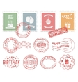 Birthday Colorful Postal Stamps Set vector image vector image