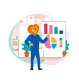business lion stand confidently at chart board vector image