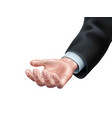 business man hand in suit offering vector image